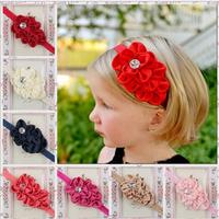 12 pieces/lot cute rhinestone fabric flower newborn headbands baby girls hairbands infant Toddler hair accessories