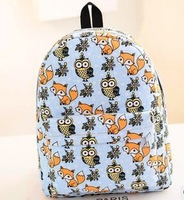 New 2014 Women Backpack Owl Printing Backpack Girls Canvas Backpack High Quality Vintage Desigual Bag Free Shipping