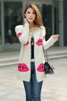 Women Loose Cardigan Sweater Korean Red Lips Outerwear Knitted Coat