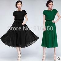 Summer dress bat sleeve Chiffon one-piece dress with belt elegant ladies Korean style Free shipping