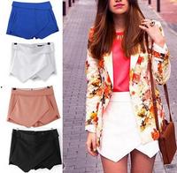 2014 Hot sale Za** women shorts 5 Colors tiered Irregular Zipper culottes Short Skirt z shorts S M L Blue Black White