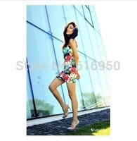 Summer print floral dress sleevelessslim body one-piece dress elegant ladies' Package buttocks dress Free shipping