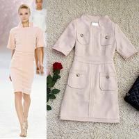 Top Quality!New Luxury Designer Fashion 2014 Winter Women's Dress Slim Fitted Warm Wool Dress Elegant Multi Color Dress Female