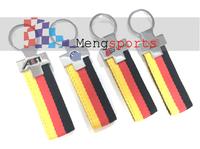 Black Yellow Germany Flag Canvas Metal Keyring Key Chain