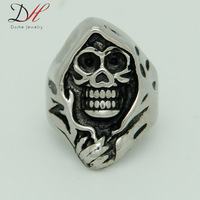 1PCS Free Shipping 2014 Fashion New Sons of Anarchy Mens Turquoise Rings Biker Rings Stainless Steel Skull Rings, RN0737