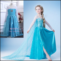 Retail, 2014 hot selling little girls Frozen princess style beautiful long sleeves long parincess dress with yarn cloak