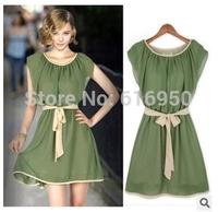 Summer Chiffon dress elegant women dress short sleeve tieback dress whole sale price hot sale  Free shipping beautiful lady