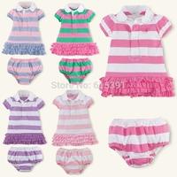 2014 new  free shipping Fashion Striped newborn girls clothing set dresses+pp pant  turn-down collar shortsleeve 2piece set yes