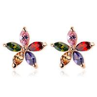 Allencoco Fashion women simple jewelry/ zircon 18k gold plated alloy colourful flower earring studs WL0693