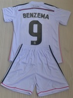BENZEMA RONALDO JAMES BALE ALONSO ISCO Real madrid home white kids boy youth white soccer jerseys sets 2014 + can customs names