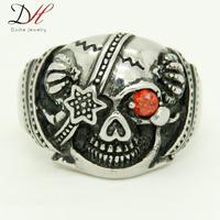 Men's Gifts Pirates of the Caribbean Red Eye CZ Skull Cool Ring Vampire Full Size Ring Titanium Steel Rings,RN0749