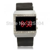 Free Shipping 5pcs Women Red LED Digital Wrist Watch Wristwatch Bracelet Black Silicone Band Strap
