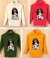 Retail 9 colors winter autumn infant baby Cartoon Puppy sweater boy girl turtleneck sweater children outerwear, 2-4years