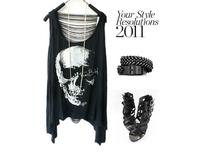 Size M - 6XL 2 color 2014 new women Tassels T shirts Skull Punk Singlet Vintage Tank Pop Sexy Top long Tee T-Shirt