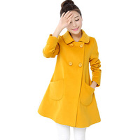 2014 new autumn winter women wool coat british style trench coat  women's medium-long blend wool double breasted coat outerwear