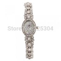 Free Shipping 5pcs Silver Alloy Band Arabic Numerals Quartz Bracelet Link Watch Wristwatch Woman Model
