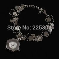 Free Shipping 5pcs Silver Alloy Link Band Round Dial Quartz Movement Bracelet Watch Wristwatch