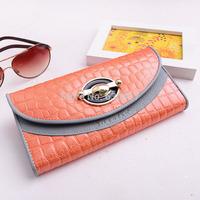 Genuine Cowhide Leather Women Wallets Vintage Elegant Fashion Long Designer Wallet Simple Women Leather Purses Clutch Purse