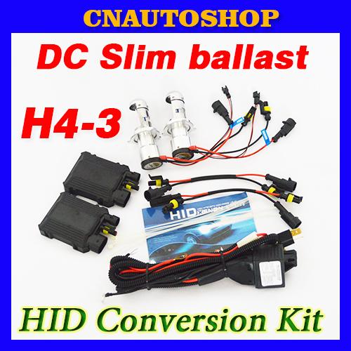 DC Slim H4-3 Telescopic BI-XENON HID Conversion Kit 12V 35W Ballast Auto Bulb 4300K 6000K 8000K FREE SHIPPING(China (Mainland))