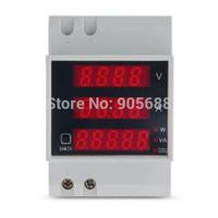 20set/lot Digital Din Rail Current Voltage Power Ammeter Voltmeter Meter Measure free shipping