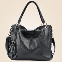 Free Shipping 2014 New Fashion Women's Genuine Cow Leather Big Bags Messenger Bags,Lady's Handbags sling bag Lady bag HDBL-8985S