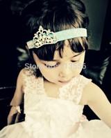 Princess Tiara Headband- Newborn Crown Royal Baby Pearl Crown Photo Prop-Baby Headband Christmas Gift 2 pcs/lot