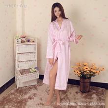 High quality sexy lace silk nightgown big yards longer section silk pajamas bathrobe Y1X32(China (Mainland))