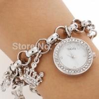 Free Shipping 5pcs Rhinestone Silver Plated Alloy Band Charms Quartz Bracelet Link Watch Wristwatch