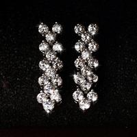 Allencoco Simple luxury design Roma style women jewelry/zircon 18k platinum plated drop earrings WL0696