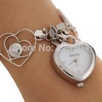 Free Shipping 5pcs Silver Alloy Link Band Heart Dial Quartz Movement Bracelet Watch Wristwatch