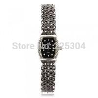 Free Shipping 5pcs Rhinestone Black Alloy Band Rectangle Dial Quartz Bracelet Watch Wristwatch Lady