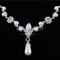 Elegant Diamante Pearl Necklace Earrings Jewellery Set Wedding Crystal Silver