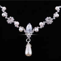 Fashion Alloy Rhinestone Necklace Earring Set,Rhinestone Wedding Jewelry Set Free Shipping