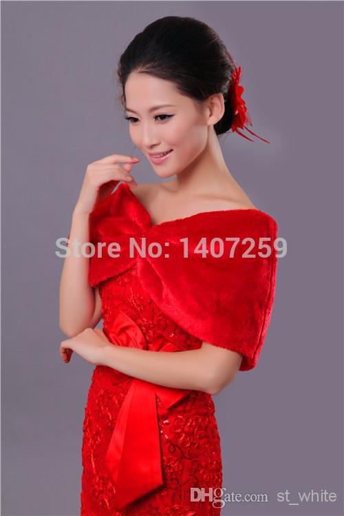 Red 2014 bridal Wrap & faux fur cloak woman jacket packing wedding dress shawl is the most special moment(China (Mainland))