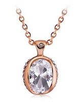 18K Rose Gold Plated Crystal Necklace Nickel Lead Free High Quality Wedding Jewelry Christmas Gift
