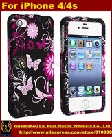 Pink/Black Butterfly Hard Case for iPhone 4 4S Mobile Phone bags for iPhone 4s free shipping