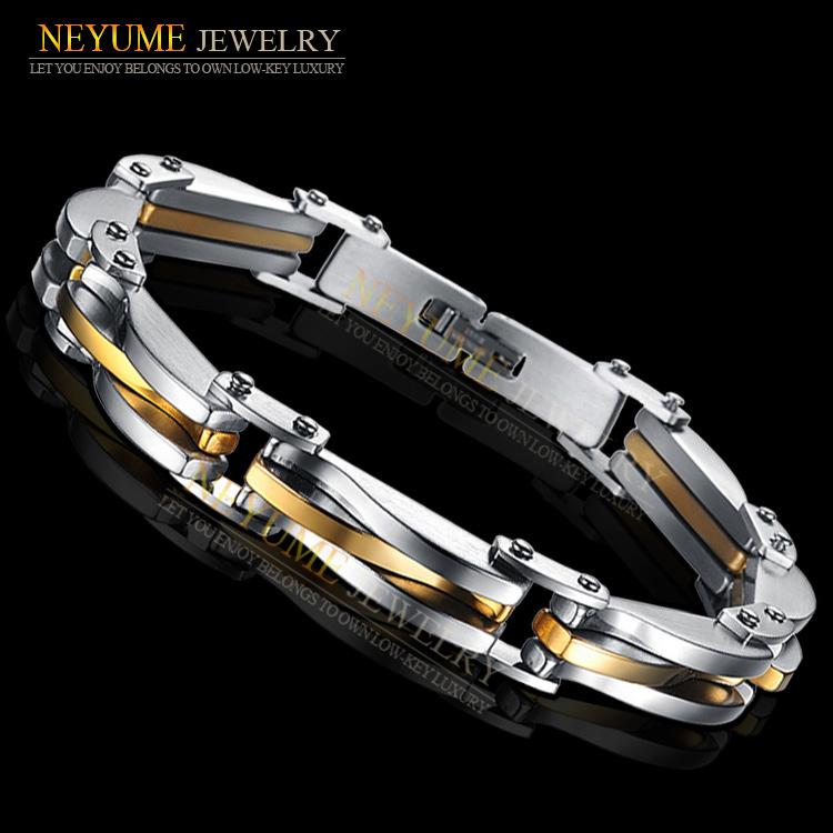 Fashion personalized designer jewelry gold titanium men's 316l stainless steel bijoux bracelet infinity hand chain men B379(China (Mainland))