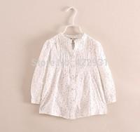 2014 spring autumn children's clothing mandarin collar girls long sleeve shirt fashionable girls blouses fold design 2-10yrs