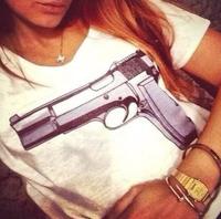 2 Colors New Fashion Brand Women T-shirts with printed CC & Gun short sleeve t shirts Stretch Cotton tees Modal tops S/M/L