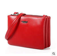 New arrival  cowhide  genuine  leather women messenger bag women shoulder bag 3 fold clutch bag