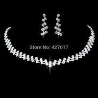 Rhinestone Necklace Earring Set Headwear Crystal Wedding Bridesmaid Jewellery