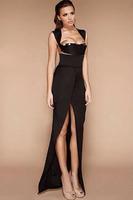 2014 New Women Sexy Long Party Prom Dress E6647 Lady Thigh High Slit Front Split Cap Sleeve Open Back Long Bodice Evening Dress