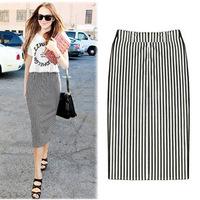 2014 New Fashion Ladies Elegant Stripe Basic Skirt High quality Retro Casual Slim skirts Elastic women skirt