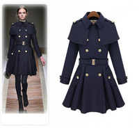 2014 autumn and winter female fashion medium-long woolen outerwear double breasted cloak woolen overcoat british style cape