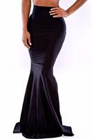 2014 New Designer Women Spring Summer Black Long Maxi Mermaid Fish Tail Skirt E71068 Elegant High Waist Trumpet Mermaid Skirt