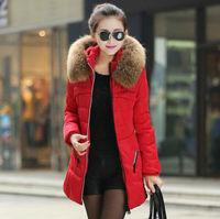 2015 Winter Jacket Coat Thicken Slim Female Fur Collar Long Coat Casual Parka Women Plus Size 4XL Free Shipping LJ971