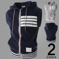 New arrival spring autumn fashion slim mens vest hooded casual men's vest hot vest for male