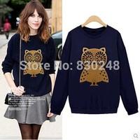 2014 autumn women's fashion owl basic shirt female loose thin pullover sweatshirt female hoodies hoody coat outwear