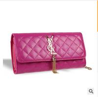 New arrival  cowhide  genuine  leather women clutch purse tassel small bag  women wallet  3 fold coin purse