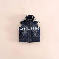 5pcs/lot (100-140) Wholesale Autumn Winter Vest for Baby Boy Casual Denim Hoodie Waistcoat Children Vest Tiger Print outwear